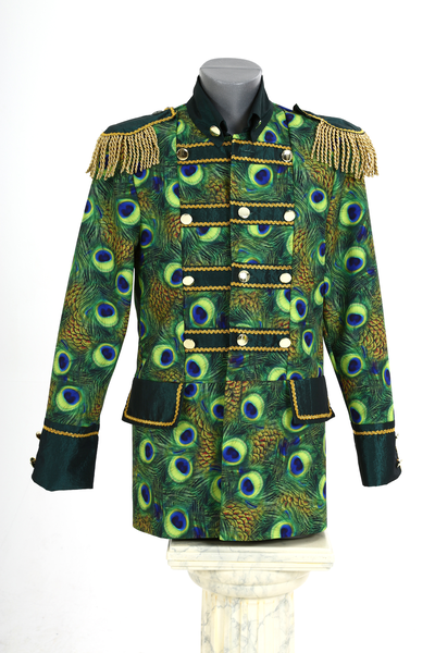 2fa2dd890c0 Carnavals jas heren, Pauw print half lang, groen