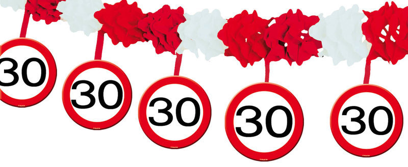 Ongebruikt verkeersbord slinger, feestartikelen, je feest in stijl PM-86
